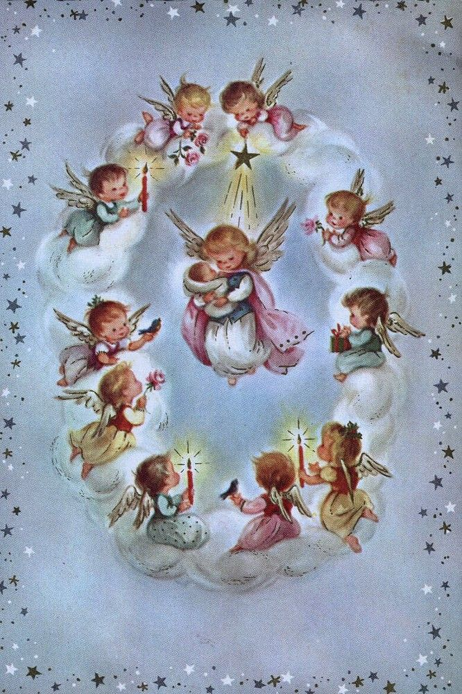 Old Christmas Post Сards — Little Angels with Baby Jesus (666x1000)