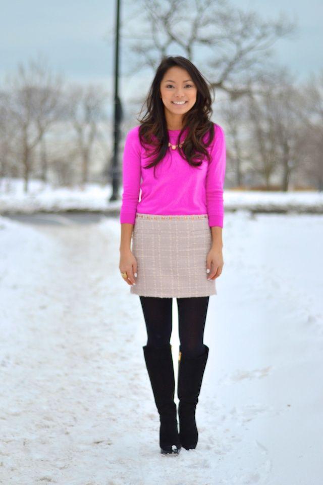 Three Shades of Pink....I'd wear with gray tweed slacks.