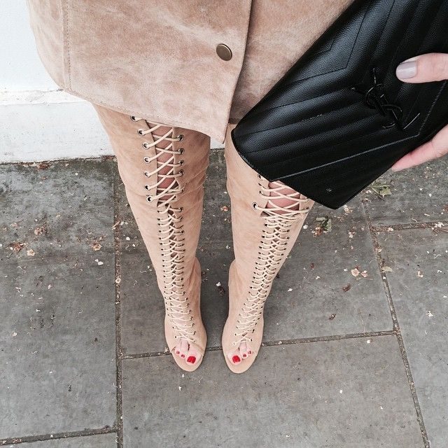 Lace up tan otk boots, ysl woc bag,suede popper skirt - fwis ...
