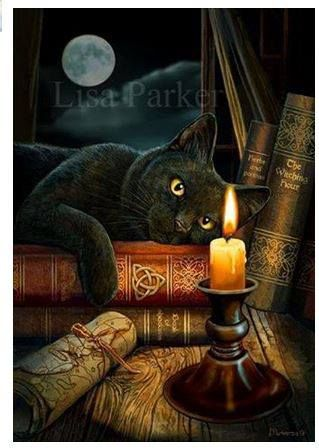 Gorgeous black cat on witch's Book of Shadows by fantasy artist Lisa Parker.