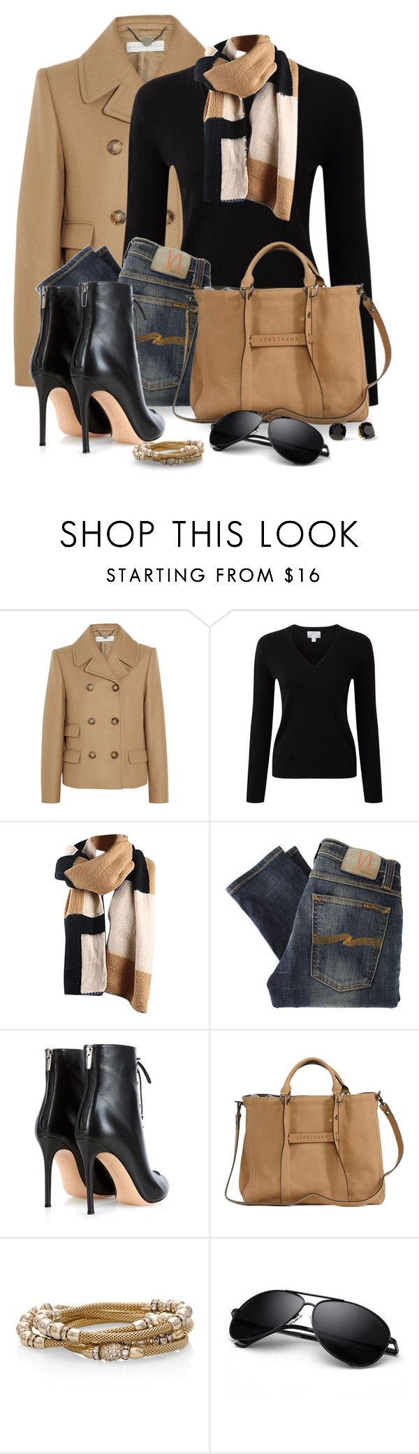 """""""Black Cashmere Sweater"""" by snickersmother ❤ liked on Polyvore featuring STELLA McCARTNEY, Pure Collection, RGB, Nudie Jeans Co., Gianvito Rossi, Longchamp, White House Black Market and Kate Spade"""