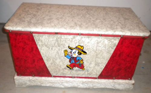 Vintage 1950 S Childs Vinyl Covered Toy Box Toy Chest