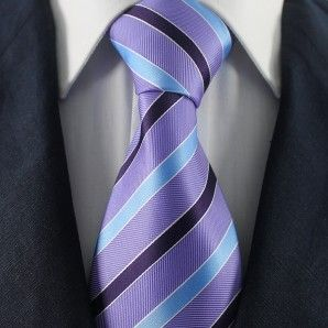 Orchid-Blue & Black Striped Neckties / Formal Business Neckties