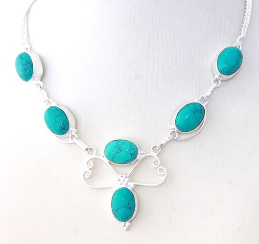 Awesome Designer Necklace With Simulated Copper Turquoise. Starting at $undefined