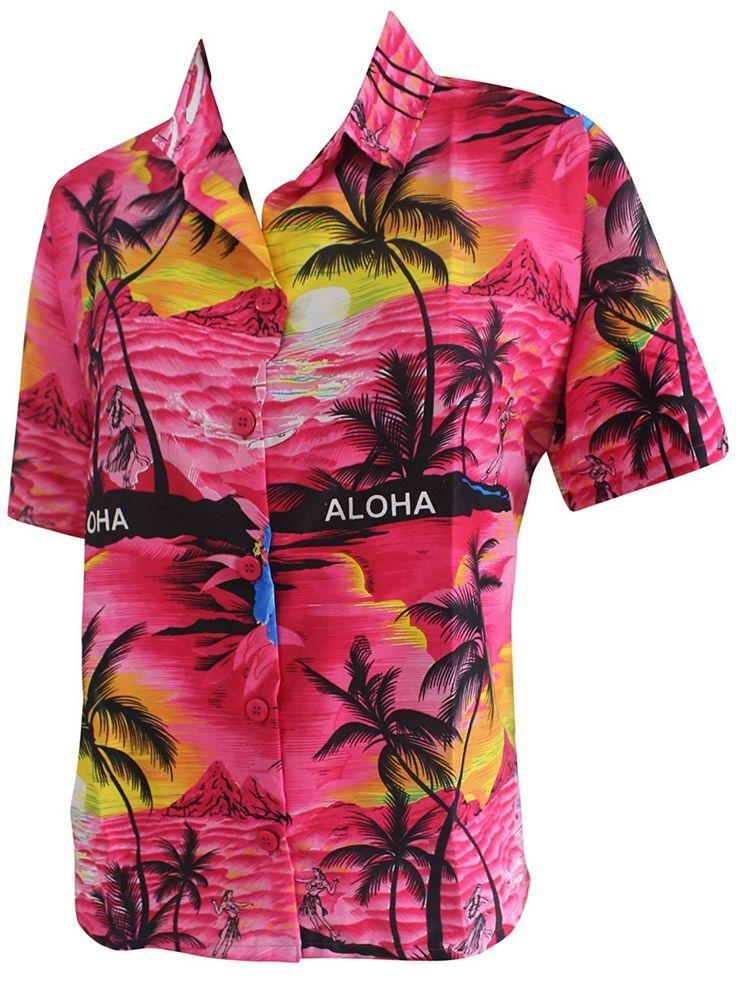 Women Beachwear Collar Gift Button Down Blouse Hawaiian Shirt Short Sleeves Pink -- Awesome product. Click the image : summer fashion