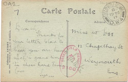 Ypres WW1 On Active Service FPO DW4 Censored Postcard Weymouth 'Hard Times' | eBay