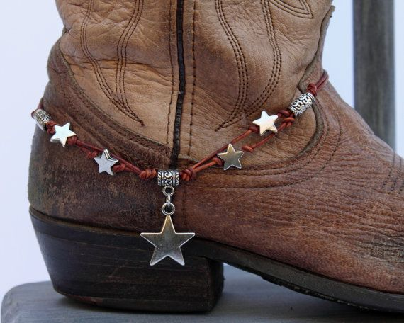 Leather Star Boot Bling by WhiteFeatherJewelry on Etsy