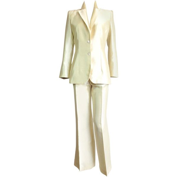 Preowned 1990's Alexander Mcqueen Women's Embroidered Tuxedo Suit ($1,250) ❤ liked on Polyvore featuring beige, alexander mcqueen, beige tuxedo, tuxedo suit, dinner suit and white tuxedo suit