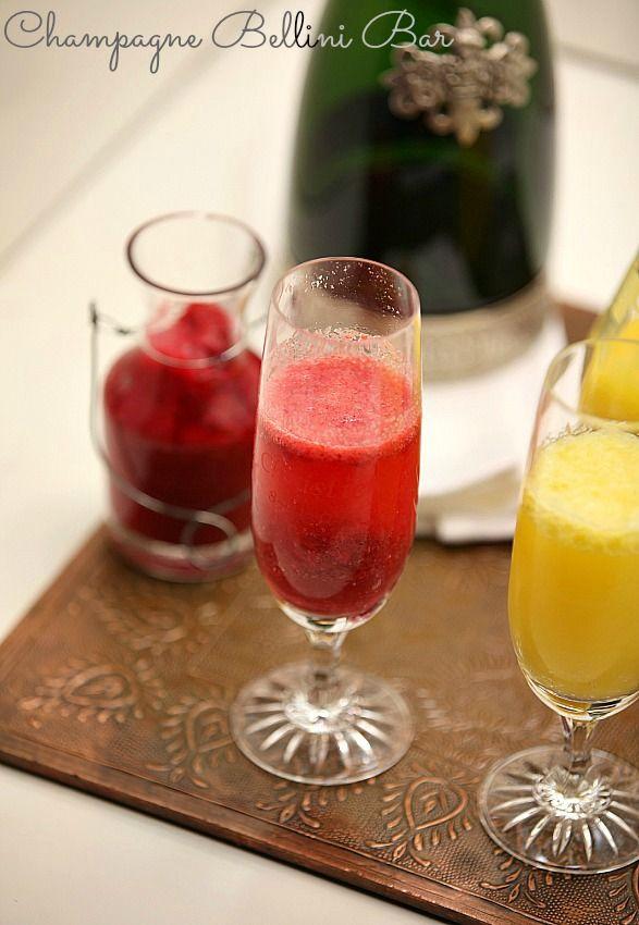 Great idea for a brunch! - Strawberry, Peach, Mango Bellini Bar Low Calorie, Low Fat Cocktail