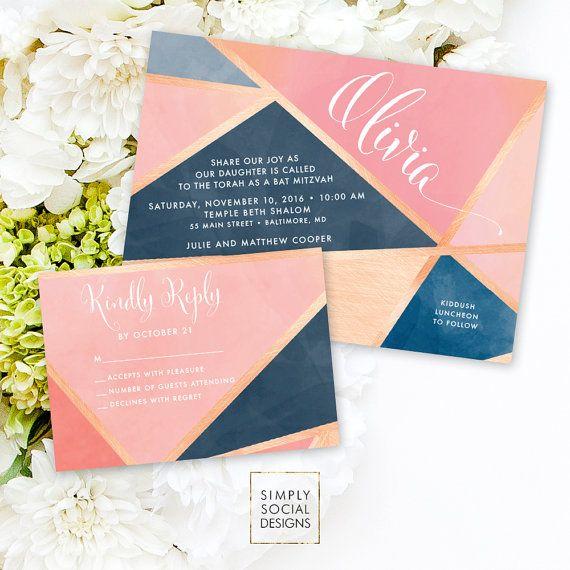 Bat Mitzvah Invitation Suite - Geometric Pattern Faux Rose Gold Foil Blush Pink Reply Card Invitation Printable Invitation Bas Mitzvah
