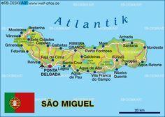 Karte von Sao Miguel, Azoren (Portugal, Açores)