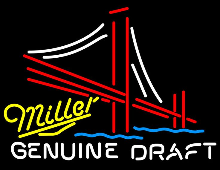 Miller Yellow Genuine Draft Golden Gate Bridge, Miller MGD Neon Beer Signs & Lights   Neon Beer Signs & Lights. Makes a great gift. High impact, eye catching, real glass tube neon sign. In stock. Ships in 5 days or less. Brand New Indoor Neon Sign. Neon Tube thickness is 9MM. All Neon Signs have 1 year warranty and 0% breakage guarantee.