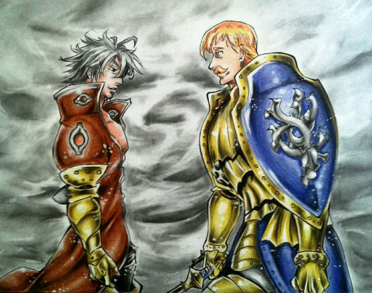 My fanart of Escanor and Estarossa | Nanatsu no taizai / Seven deadly sins | with colour pencils