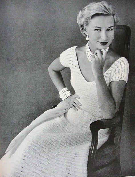 1950er Jahre INSTANT PDF-Muster schöne schnelle Strickkleid Party Abend Spitzenkleid Strickmuster