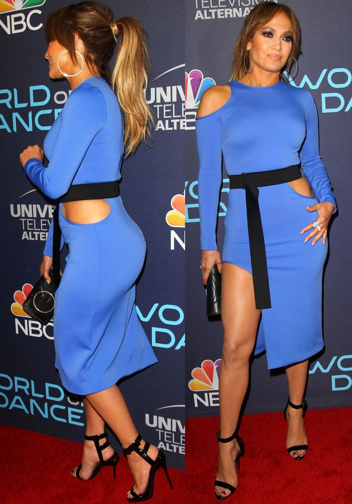 J.Lo teases with a little bit of her abs in a blue David Koma dress