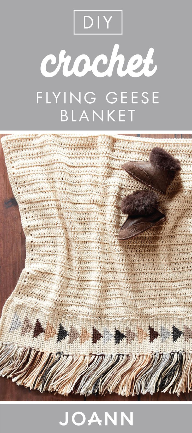 Full of handmade charm, this DIY Crochet Flying Geese Blanket tutorial from JOANN is ideal for adding to your living room. Plus, you can choose the yarn color of your choice to match the style of your home design!