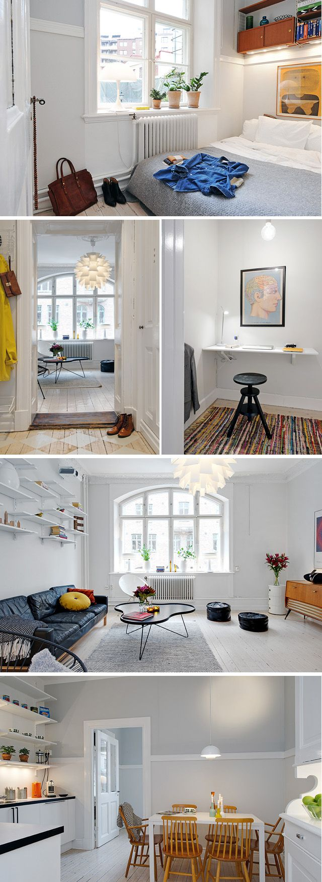 Small room style - esp. love the bedroom! fr 11.54   #bedroom #living room #dining room #modern #scandi