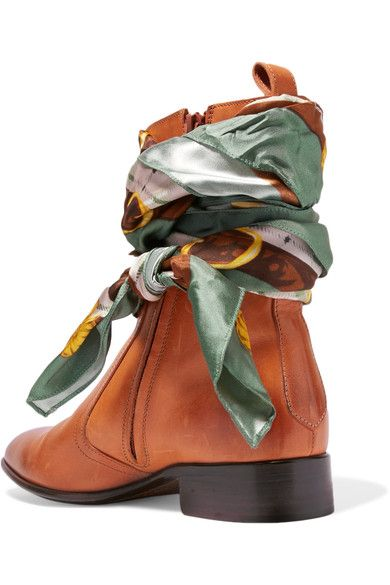 Heel measures approximately 40mm/ 1.5 inches Tan leather, multicolored satin-twill Zip fastening along side Imported