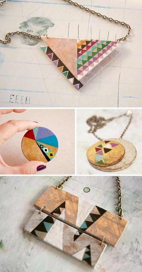 Geometric necklace designs.