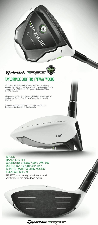 TAYLORMADE® RBZ™ Ladies Fairway Woods · RocketBallz technology with sole-positioned Speed Pocket · Matte-white crown · Flex: Ladies · Hand: RH · Shaft: Matrix XCON 5 Graphite Shaft. GolfMetals.com