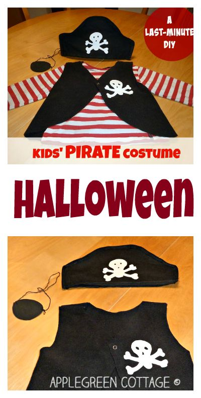 Halloween costume - Need a quick idea for Halloween? An easy last minute DIY PIRATE costume for kids. Have a look!