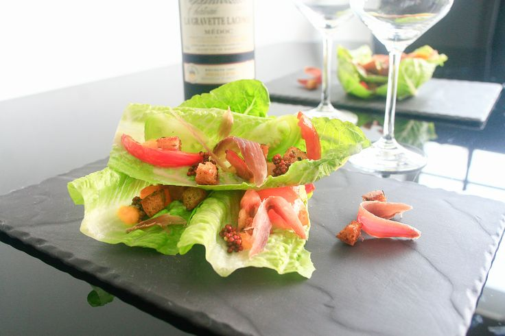 Reconstructed Caesar Salad with Heirloom Tomatoes & Cured Duck  #salad #appetizer #recipe