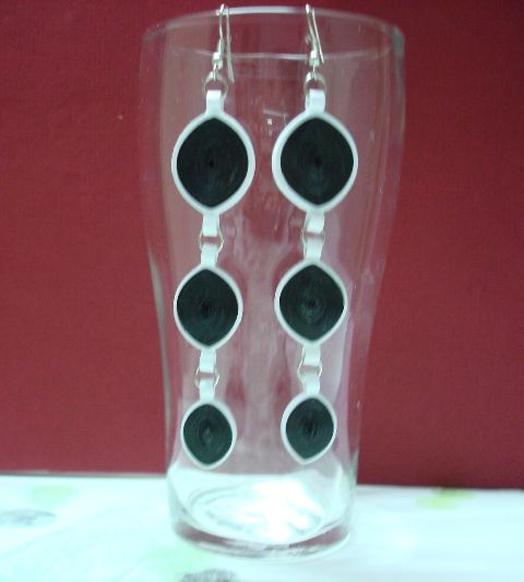Black and white long hanging earrings