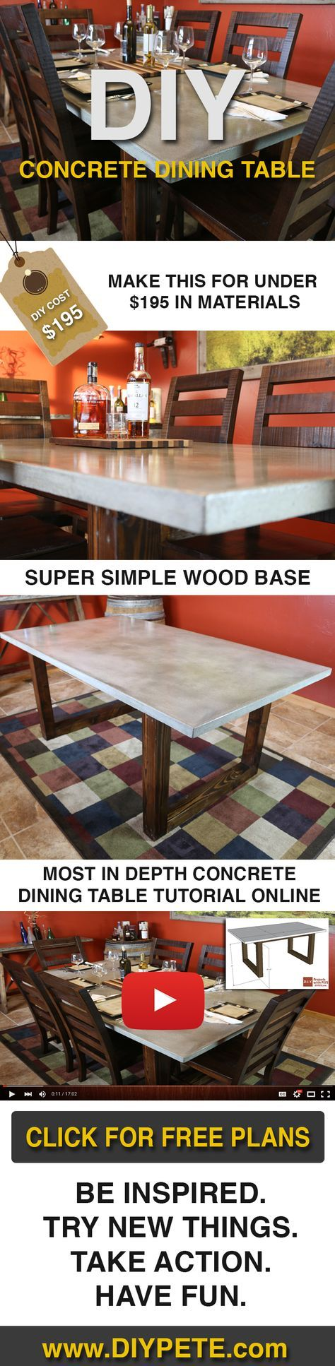 Make this Concrete Dining Table for under $200! Free DIY plans, video tutorial, and post at DIYPETE.com. Click on the photo for all the info, and re-pin to share with your friends!