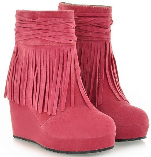 PINK Wedge Ankle Boots with Fringe Decoration for Women
