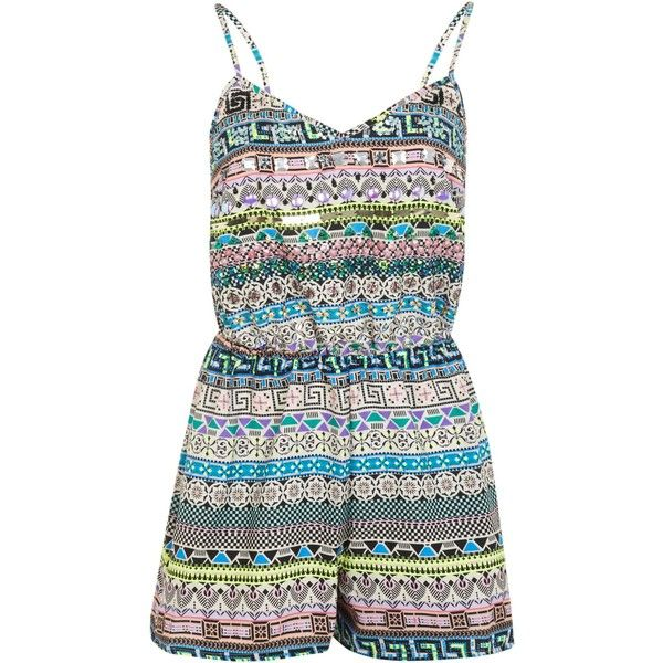 Miss Selfridge Embellished aztec playsuit ($14) ❤ liked on Polyvore featuring jumpsuits, rompers, playsuits, romper, playsuits & jumpsuits, v neck jumpsuit, romper jumpsuit, playsuit jumpsuit, miss selfridge and playsuit romper