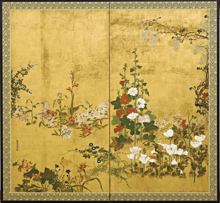 https://flic.kr/p/pG4Q96 | Watanabe Shiko (1683-1755) - Flowers (The Freer Gallery of Art, Washington DC) | Two-panel folding screen; ink, color and gold on paper    192.1 x 206.8 cm.   Japanese painter. He was apparently a masterless samurai (ronin) who entered the service of the aristocratic Konoe family in Kyoto in 1709. Some of his early paintings reflect his training in the academic style of the KANO SCHOOL, as seen in two sets of sliding doors ( fusuma), one set depicting pine trees…