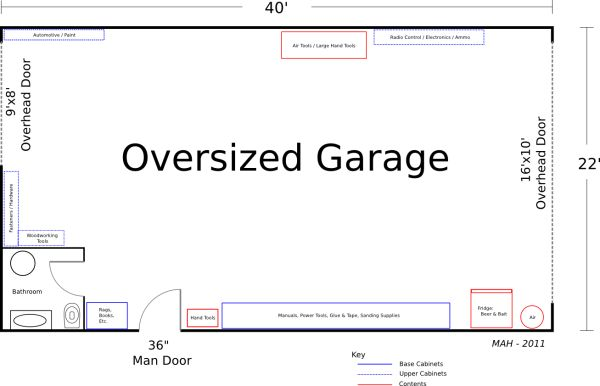 Block garage plans plan of a large detached garage for Large garage plans