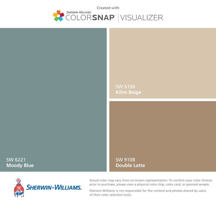 I found these colors with ColorSnap® Visualizer for iPhone by Sherwin-Williams: Moody Blue (SW 6221), Kilim Beige (SW 6106), Double Latte (SW 9108).