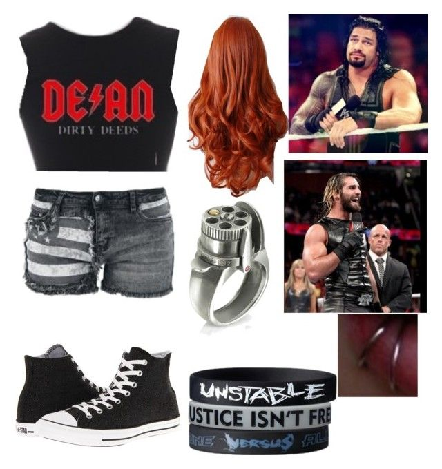 """helping roman regins trash talk seth rollins"" by ashngods ❤ liked on Polyvore featuring Converse and Calibro 12"