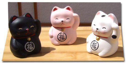 Lot de 3 figurines chatons Maneki Neko Noir/rose/blanc
