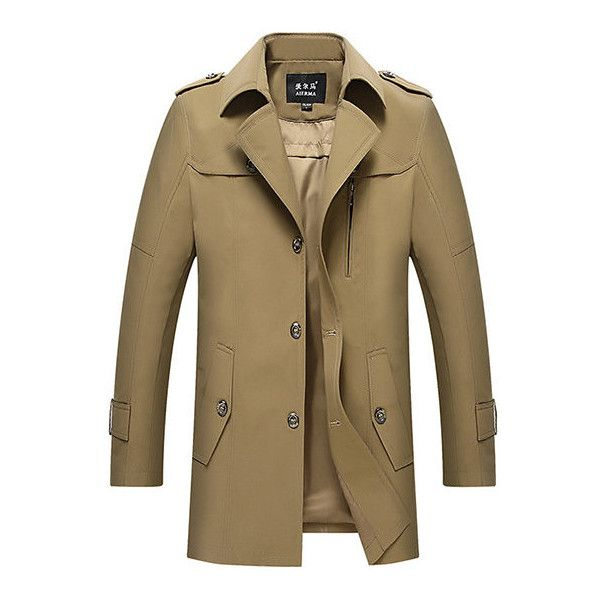 s Casual Turn-Down Collar Mid-long Thin Trench Coat ($58) ❤ liked on Polyvore featuring men's fashion, men's clothing, men's outerwear, men's coats, mens khaki coat, mens slim fit coat, mens navy trench coat, mens long trench coat and mens fur collar coat