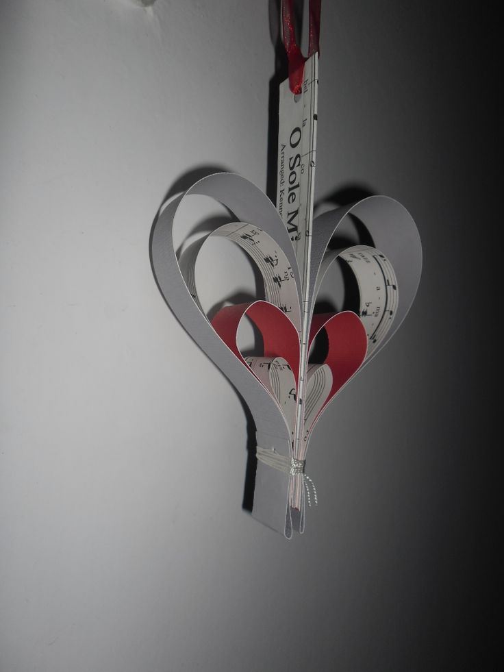 hanging heart made from sheet music and card stock
