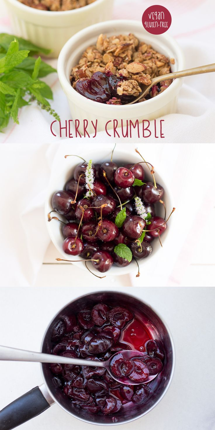 Dead easy yet super tasty #summer #dessert. No #refined #sugar, it's #vegan and #gluten-free. #recipe #recipes #vegan #vegetarian #cherries