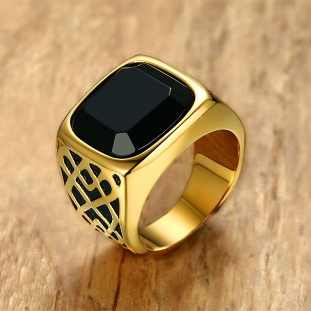 Sale Price $6.12, Buy Men Square Black Carnelian Semi-Precious Stone Signet Ring in Gold Tone Stainless Steel for Male Jewelry Anillos Accessories
