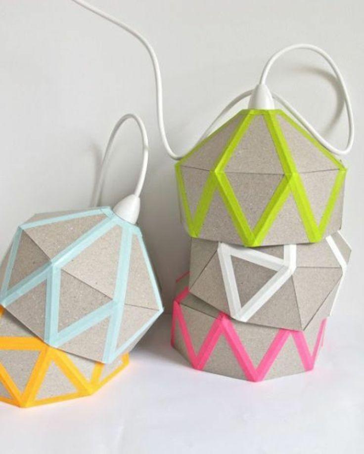 Lampenschirme aus Pappe und farbigem Washi Tape