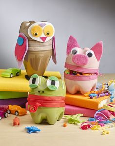 Zipper Animal Containers - wheels are turning as to what else I could make this way
