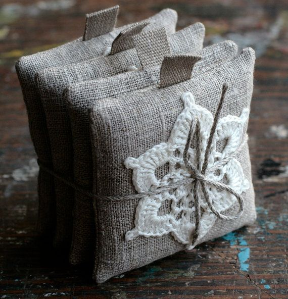 Mini crochet doily on burlap - nice idea for sachet or pincushion.