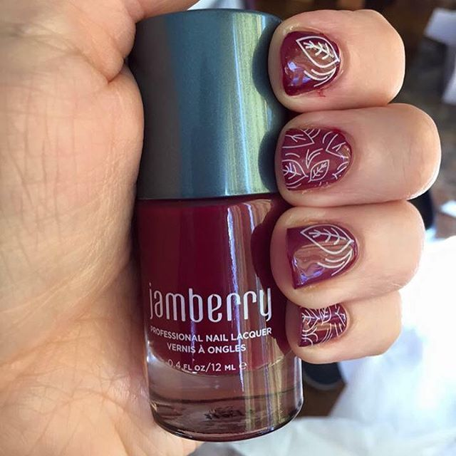 Jamberry's Fall Fever wrap layered over Red Currant Lacquer. So pretty! Get yours at https://cuteclassyjams.jamberry.com/shop. IG Photo from sarahjeanq