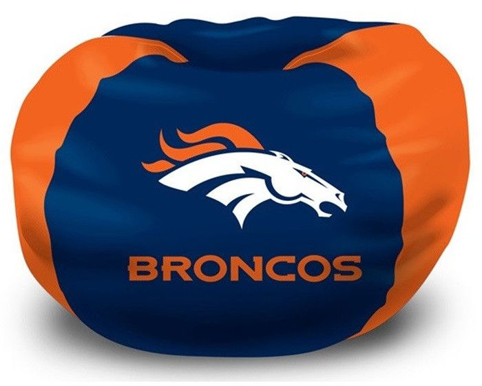 [[start tab]] Description This Denver Broncos NFL Bean Bag Chair is the perfect addition to every football fan's bedroom, living room or den. The shell is made of 100 percent Polyester fabric, with a