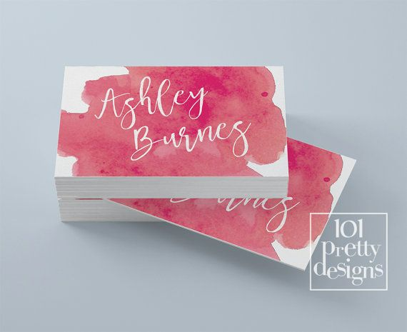 Watercolor business card template pink by 101prettydesigns on Etsy