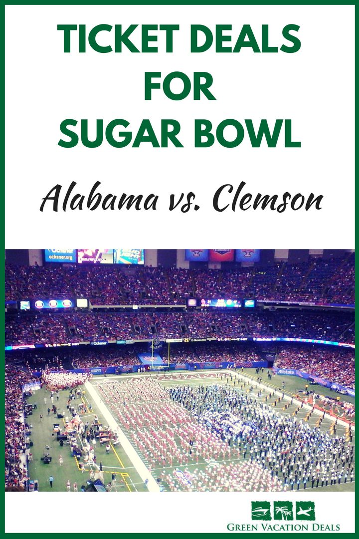 How you can get discount tickets for Sugar Bowl College Football Playoff Game. Save money with Sugar Bowl ticket deals and watch the Alabama Crimson Tide & Clemson Tigers. Great college playoff ticket deal! #SugarBowl #Alabama #Clemson #RollTide #Bama #CollegeFootball #collegefootballplayoff