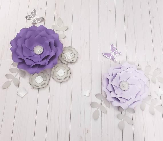 Purple 3d Paper Flowers Nursery Wall Decor Large Purple Paper