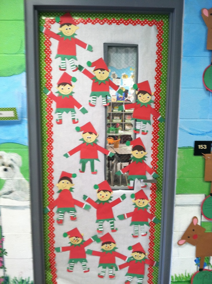 47 best christmas projects and bulletin board display for Elf door ideas