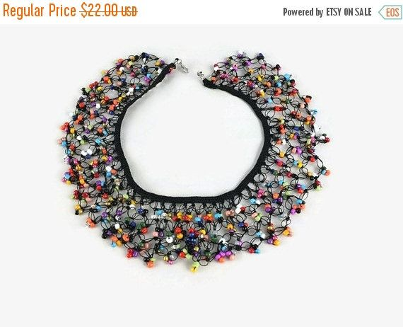 Egyptian collar, multicolored glass beads and Turkish oya crochet summer statement necklace.  This lovely crochet collar is crochet with multicolored glass beads and Turkis... #etsy