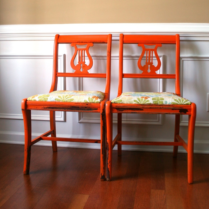 Dining Chairs Pair. Lyre Back Harp. Wood. Tangerine Tango Orange. Cottage  Chic - 56 Best Lyre Back Chairs Images On Pinterest Chairs, Antique